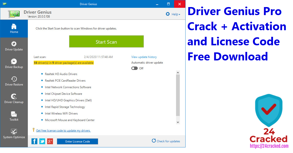 Driver Genius Pro Crack + Activation and Licnese Code Free Download