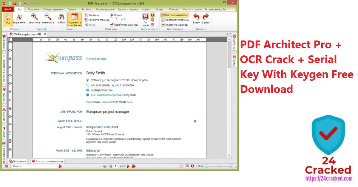 PDF Architect Pro + OCR Crack + Serial Key With Keygen Free Download