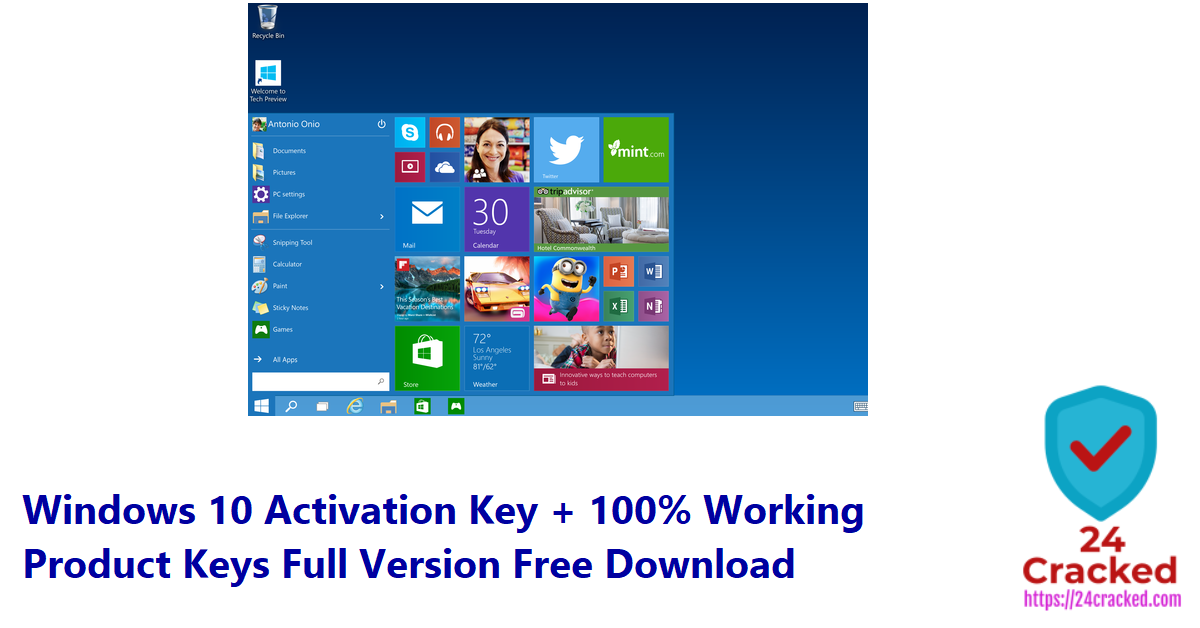 Windows 10 Activation Key + 100% Working Product Keys Full Version Free Download