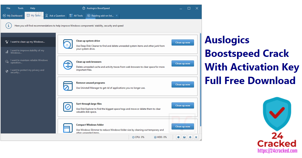 Auslogics Boostspeed Crack With Activation Key Full Free Download